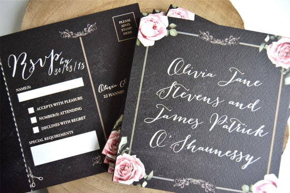 Vintage Floral Framed Chalkboard Wedding Invitation Sample