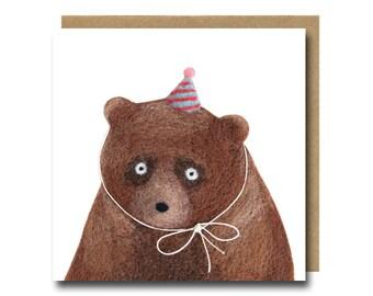 Party Animal Bear Birthday Card, Funny Bear Birthday Card, Cute Bear Card, Party Invitation Card, Grizzly Bear Card, Illustrated Bear Card