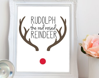 Rudolph The Red NosedReindeer PRINTABLE Art / Rudolph Nose Printable / Rudolph Reindeer Printable / Diy Christmas Gift / INSTANT DOWNLOAD