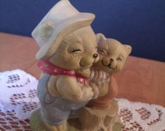 Small Vintage Bear Figurine, Two Bears Hugging, (# 983/61)