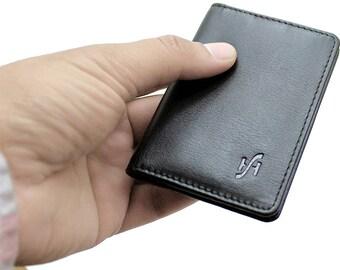 Men's RFID BlOCKING Ultra Slim Genuine Leather Credit Card Holder Wallet Mini Card Case