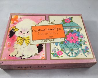 Vintage Box of Assorted Small Thank You and Gift Cards With Envelopes From The Coronation Collection