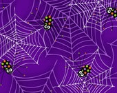 Glow in the Dark Purple Spiders on Webs from the Fantastic Glows Collection by Henry Glass, Halloween Fabric, Glows in Dark