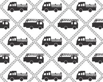 Black and White Fire Engine Cotton Fabric from the Firehouse Friends Collection be Benartex, Dalmatians, Firehouse Dog, Fireman