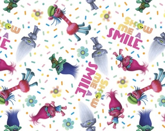 """End of Bolt, Trolls Show Me A Smile Cotton Fabric by Dreamworks for Springs Creative 18""""x44"""""""