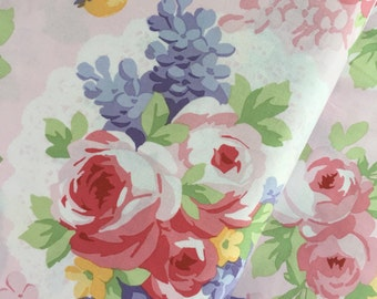 Light Pink Floral Birds Cotton Fabric from the Fidelia Collection by Clothworks