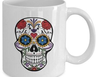 TATTOO SUGAR SKULL Coffee Mug - Day of the Dead - El Dia De Los Muertos - Mexican Art Gift - 11 oz white coffee tea cup