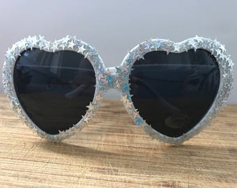 Glitter Star Holographic Sunglasses - The Britney, Silver Sparkle Heart Sunnies, Festival, Rave, Embellished, Shine