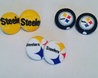 READY TO SHIP-Steelers Button Earrings - Steelers Clip on - Football Fabric Necklace - Steelers Print - Pittsburgh Steelers Earrings - iE39