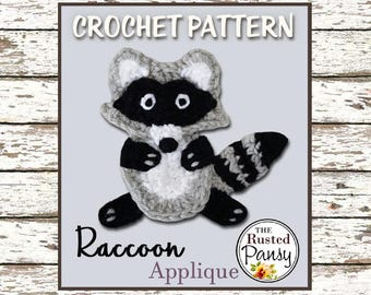009 - Raccoon Applique Crochet PATTERN, Instant Download