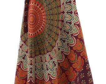 Burgundy Long Cotton Throw Hippy Wrap Skirt UK 8-12 | Wraparound | Hippie Boho | Festival | S/IN093 No.1 | POS: G5/4