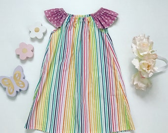 3- Flutter Sleeve Dress- Candy Stripe