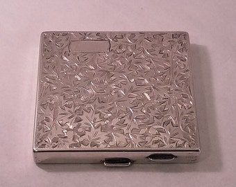 Vintage Antique Sterling Silver Compact Powder Box Case
