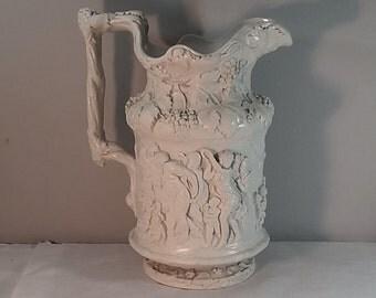 Antique Parian Ware Large Pitcher, Grapes, Orgy Scene