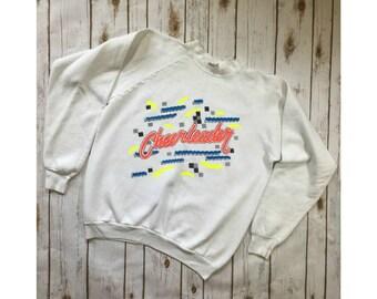 Vintage Cheerleader Sweatshirt, 90s Neon Cheerleader Sweater, Size XL Made in USA, 90s Cheerleader Clothing, 90s Sweatshirt Cheerleader Gift