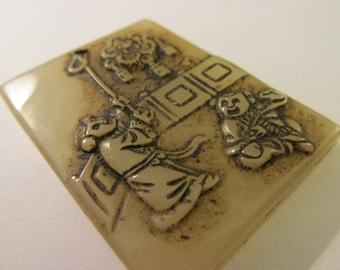"""Chinese Rectangular Jade Pendant of Children at Play, 1 1/2"""" x 2"""""""