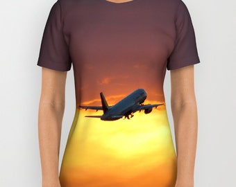 Airbus Sunset Takeoff - All Over T-Shirt