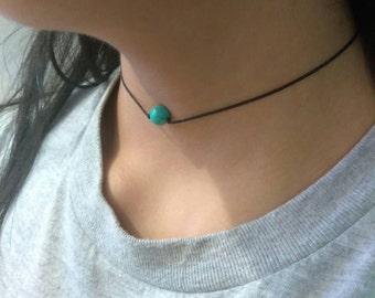 Turquoise Stone Choker, dainty choker, minimalist, boho, howlite stone choker, simple choker, single stone, bohemian jewelry, girly, gift
