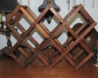 Folding Wine Rack  Solid Mahogany Mid Century