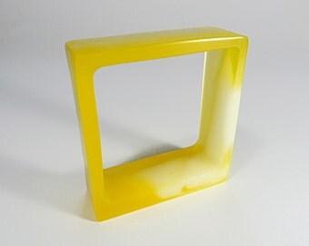 Handmade Yellow Square Resin Bangle