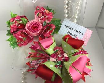 strawberry shortcake inspired hair bow,