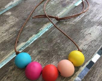 rainbow hand painted wooden bead necklace