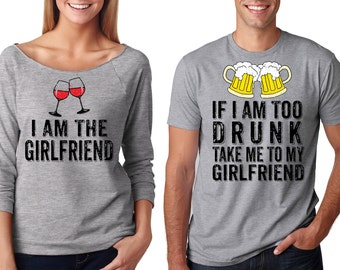 Funny Matching Tees For Party Gift For Boyfriend For Girlfriend Photo Shoot Idea Party Outwear Couple T-shirt Drunk Boyfriend Tee Shirt