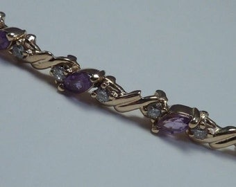 14K Yellow Gold Amethyst and Diamond Bracelet, 6.5 inch