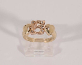 """14K Rose and Yellow Gold """"15"""" Quinzena Ring , size 5.75"""