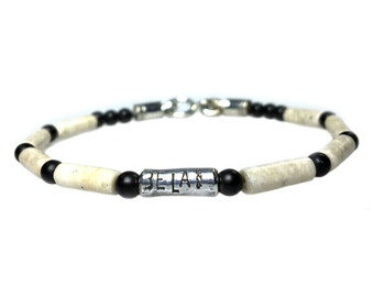 Bracelet-Fossil, Onyx and Sterling Silver 438