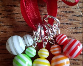 5 lightweight Beaded Knitting stitch markers.  stripes