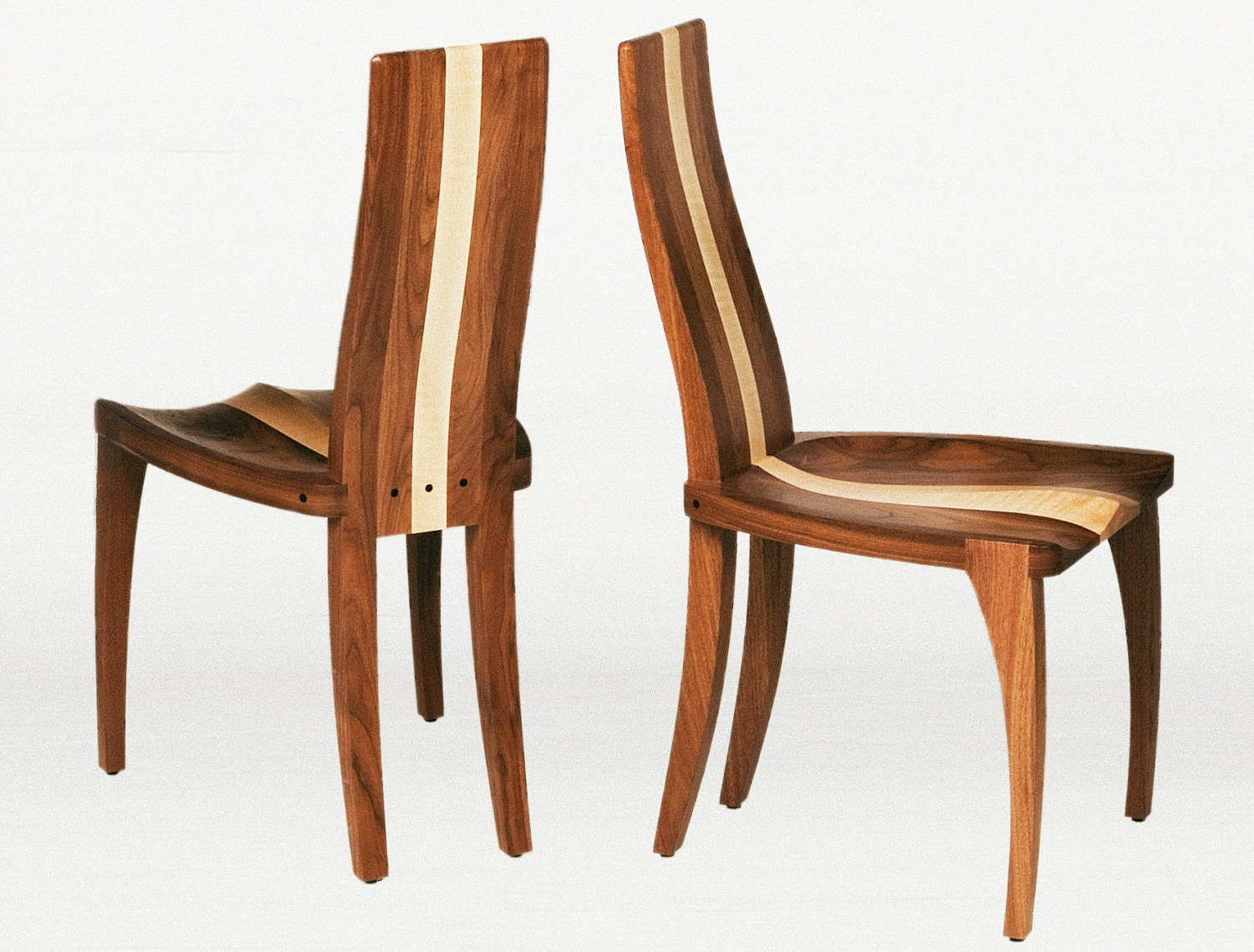 Modern dining chair in solid walnut wood by nathanhunterdesign for Walnut dining chairs modern