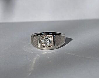 Vintage 18 kt HGE Ring, 18 kt White Gold HGE CZ Ring