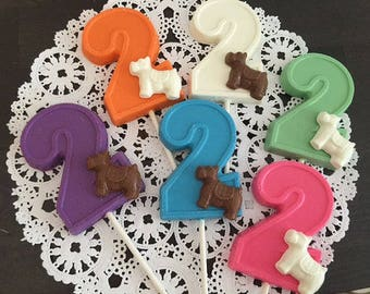 NUMBER TWO DOG Chocolate Lollipop(12 qty)-2nd Birthday/Birthday Favor/Number 2 Lollipops/Dog Birthday,Party Favors/Second Birthday Favors