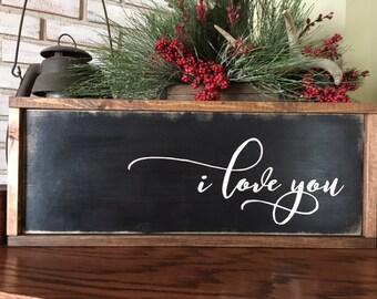 I Love You - Wooden Sign - Home Decor - Family Room - Wedding Sign - Nursery Decor - Rustic Decor - Farmhouse Style