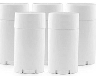 Deodorant Containers - 5 Empty White Deodorant Tubes 2.65oz BPA Free (Balms, Lotion Bars) Reusable