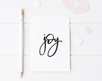 Typographic print, black and white | Joy