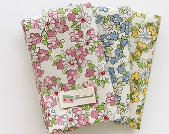 """Daisy Flower Patterned Linen Cotton Fabric made in Korea 45cm by 145cm or 18"""" by 57"""" by the Half Yard"""