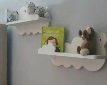 Nursery cloud shelves x 2 painted white hand made mirror image cloud shelf new