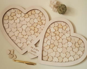 Heart Drop Box Guest Book, Large Double Heart Wedding Drop Top Box Style Guest Book Alternative, Unique Wedding Day Guest Book With Hearts