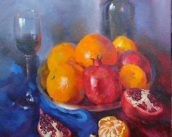 Oil painting/canvas/Oranges and Pomegranate fruit