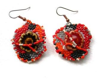 Unique mismatched earrings Seed bead dangle earrings Colorful jewelry Unusual earrings for women Dangly summer earrings Hippie style earring