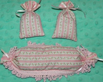 Set of Three Pink Floral Lavender Sachets Cottage Chic