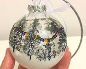 Christmas decoration hand painted Mothers Day gift bauble festive snow and trees fairy lights traditional special friend gift