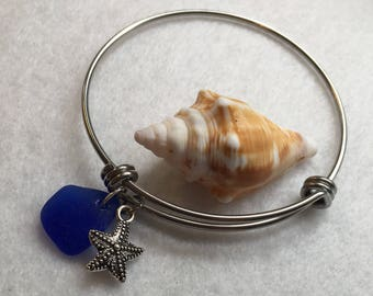 Seaglass Bracelet Cobalt Blue Seaglass with Starfish