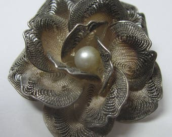 Antique 3D Floral Filigree Rose Brooch Sterling Silver With Pearl