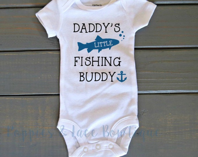 Daddy's Little Fishing Buddy Bodysuit, Father's Day Gift, Fishing Buddy Shirt, Unisex Kids' Clothing, Baby Shower Gift