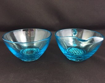Vintage Blue Glass Cream and Sugar Set