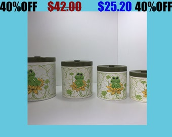 Four Nesting Plastic Canisters with Frog Illustrations