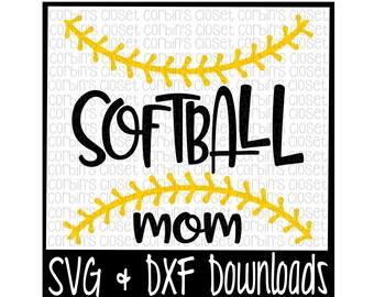 Softball Mom SVG * Softball Thread SVG Cut File - dxf & SVG Files - Silhouette Cameo, Cricut